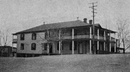 East Barracks in 1930. This building and the one behind it burned to the ground on February 12, 1933