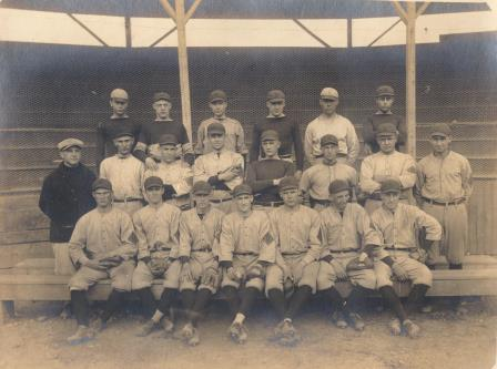 Baseball Team in front of Wooden Stands circa 1916