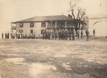 First Mess Hall after being moved and converted to Cadet Infirmary circa 1916