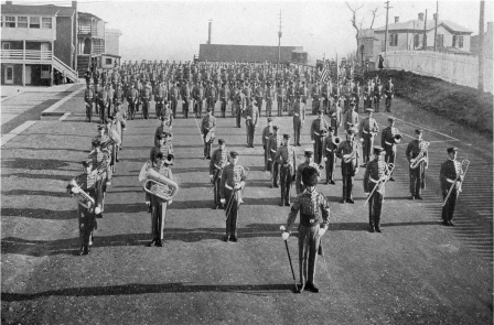 Cadet Battalion on Plaza with House at 239 Pleasant Street in upper right