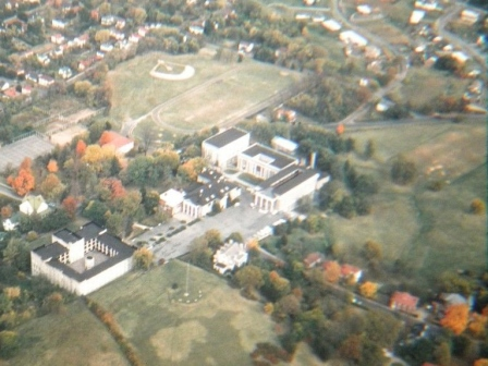 Aerial View of SMA showing Houses on Pleasant Street in the lower right circa 1960