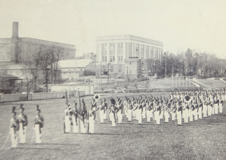 Memorial Hall seen from Parade Ground showing Faculty Apartment circa 1930