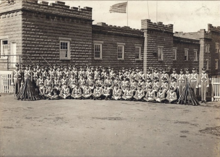Northeast corner of Barracks showing walkway to third Gallery Guardroom circa 1912